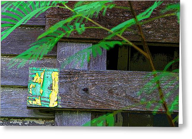 Weathered Wood And Old Paint Greeting Card by Linda Phelps