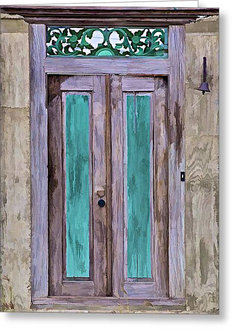 Weathered Wood Door Of The Caribbean  Greeting Card by David Letts