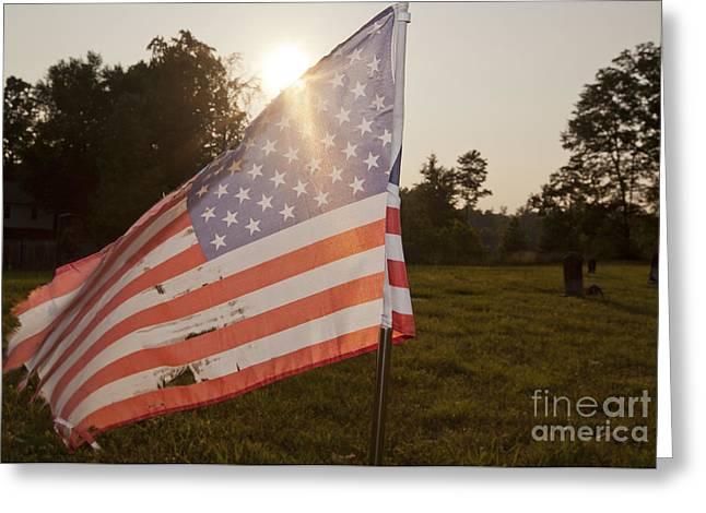Weatherworn American Flag Greeting Card by Jonathan Welch
