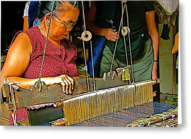 Weaver At Her Loom In Tachilek-burma Greeting Card by Ruth Hager