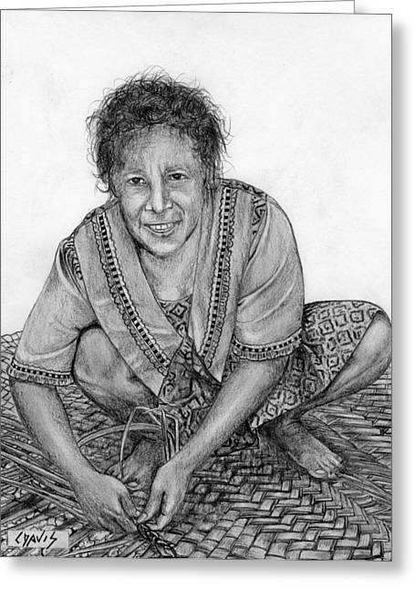 Greeting Card featuring the drawing Weaving A Mat 2 by Lew Davis