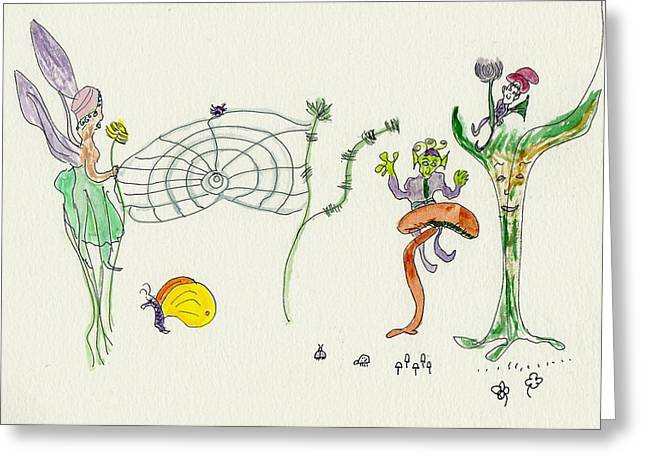 Web Faeries Greeting Card by Helen Holden-Gladsky