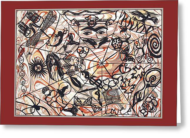 Web Of Life Mounted On Marbled Paper Greeting Card by Ellen Sauer