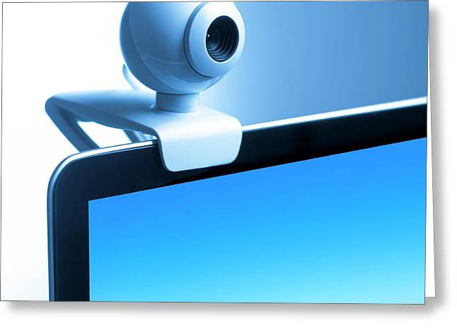 Webcam On Computer Monitor Greeting Card by Science Photo Library