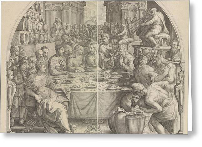 Wedding At Cana, Jacob Matham, Hendrick Goltzius Greeting Card by Jacob Matham And Hendrick Goltzius And Simon Sovius