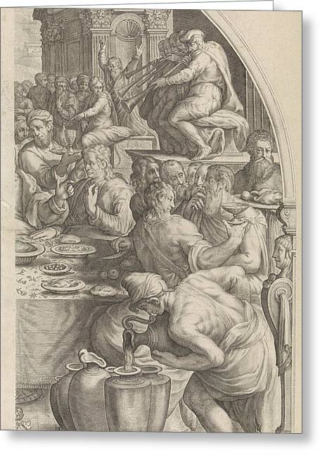 Wedding At Cana, Leaf Right, Print Maker Jacob Matham Greeting Card by Jacob Matham And Francesco Salviati And Simon Sovius