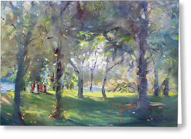 Wedding Celebration In The Park Greeting Card