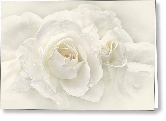 Wedding Day White Roses Greeting Card