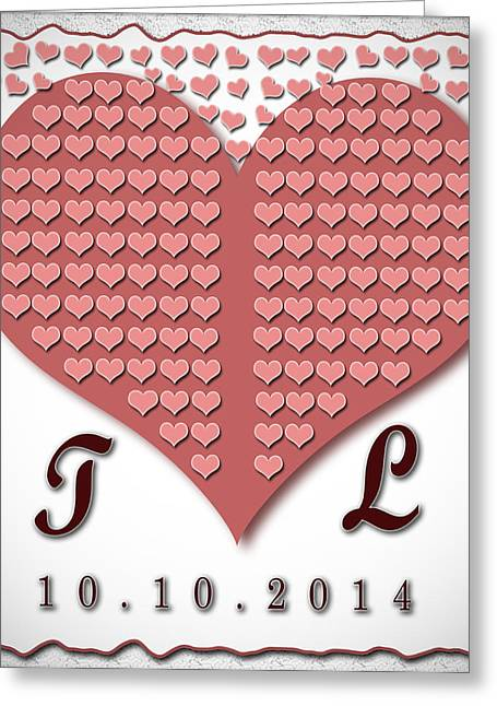 Wedding Guest Book Hearts Template Greeting Card by Georgeta Blanaru