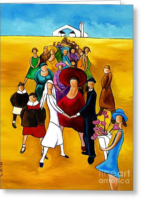 William Cain Greeting Cards - Wedding Holding Hands Greeting Card by William Cain