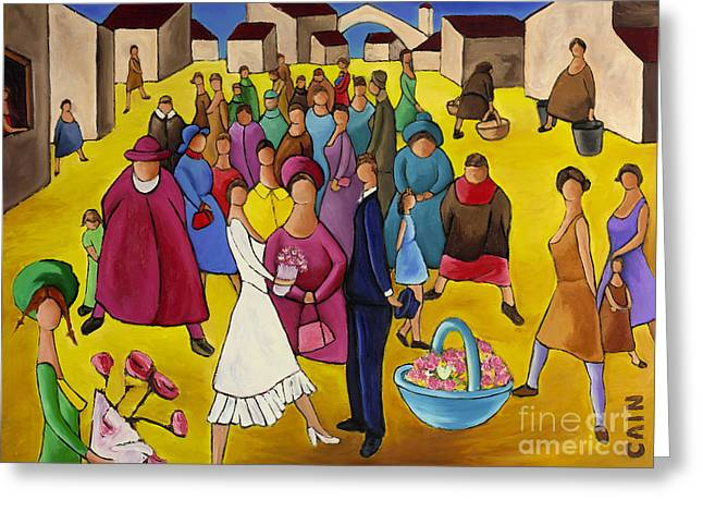 Wedding In Plaza Greeting Card by William Cain
