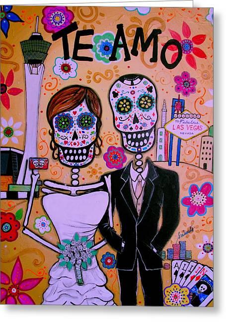 Wedding In Vegas Dia De Los Muertos Greeting Card