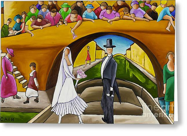 Wedding On Barge Greeting Card by William Cain