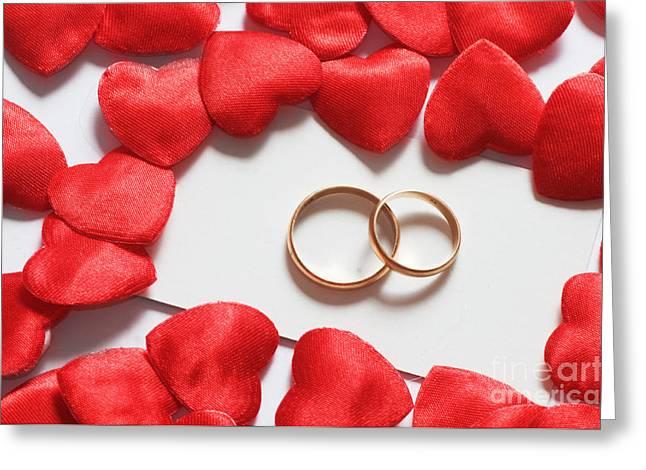 Wedding Rings In Hearts Environment Greeting Card by Michal Bednarek
