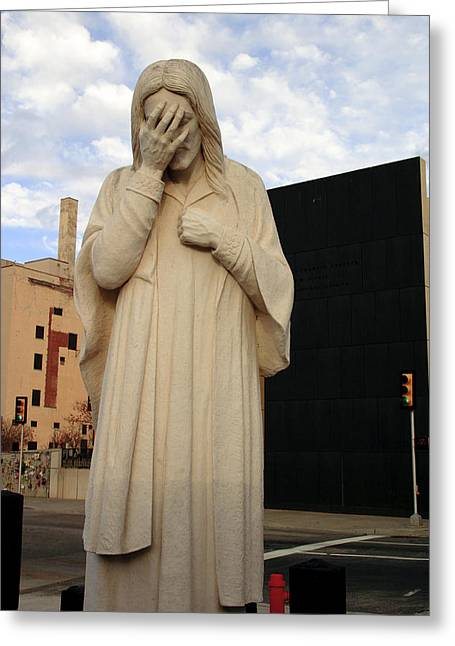 Weeping Jesus Statue In Oklahoma City Greeting Card