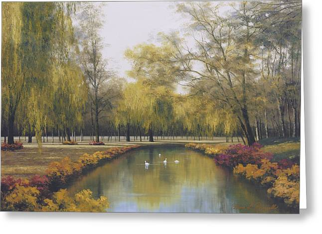 Weeping Willow Greeting Card by Diane Romanello