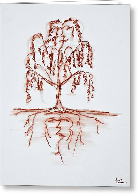 Weeping Willow With Heart And Soul Greeting Card