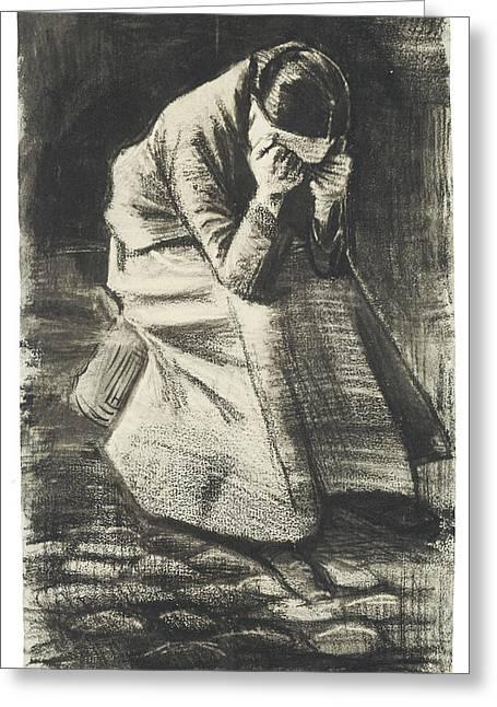 Weeping Woman Greeting Card by Vincent van Gogh
