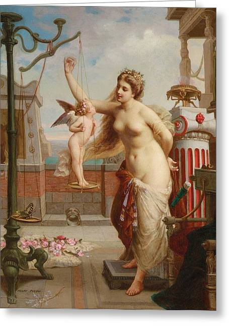 Weighing Cupid Greeting Card by Henri Pierre Picou