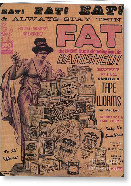 Weight Loss Ad Sanitized Tapeworms Greeting Card by Science Source