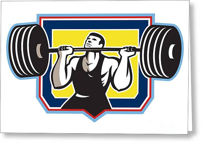 Weightlifter Lifting Heavy Barbell Retro Greeting Card by Aloysius Patrimonio