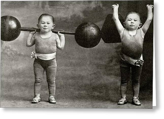 Weightlifting Dwarfism Exhibits Greeting Card by American Philosophical Society