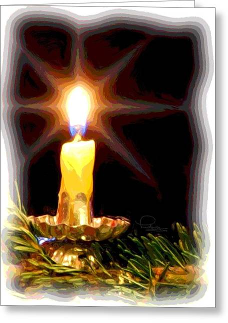 Greeting Card featuring the photograph Weihnachtskerze - Christmas Candle by Ludwig Keck