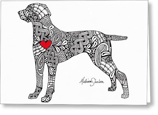 Greeting Card featuring the drawing Weimaraner by Melissa Sherbon