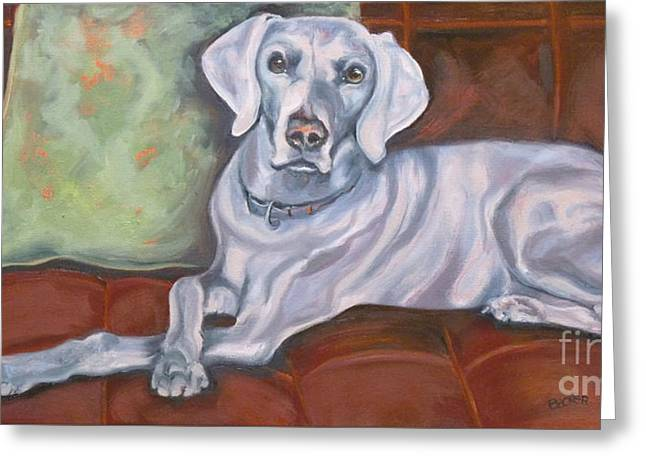 Weimaraner Reclining Greeting Card