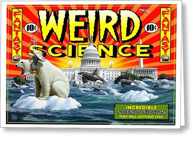 Greeting Card featuring the digital art Weird Science by Scott Ross