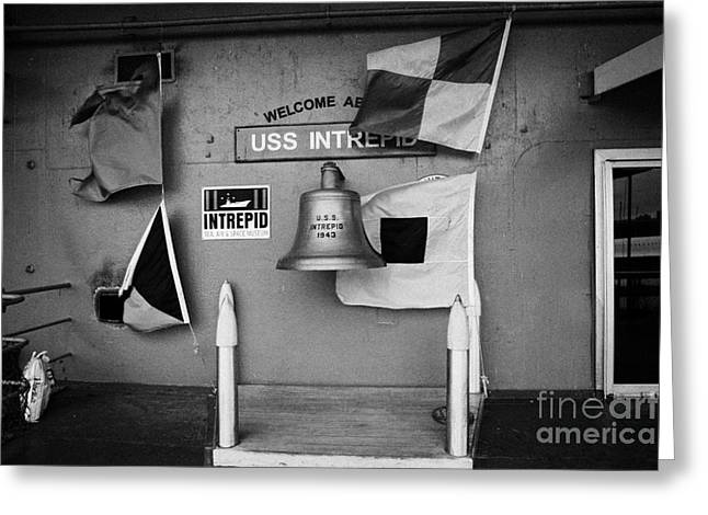Welcome Aboard Sign Flags And Uss Intrepid Bell At The Intrepid Sea Air Space Museum Greeting Card by Joe Fox