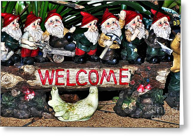 Welcome From The Seven Dwarfs Greeting Card by Kaye Menner
