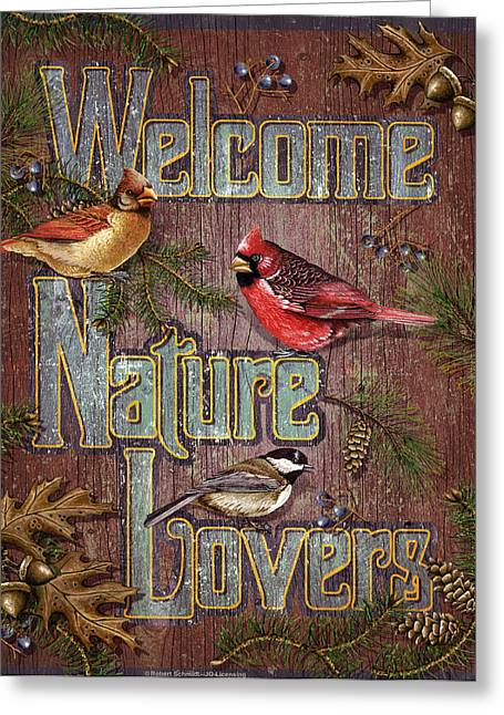 Welcome Nature Lovers 2 Greeting Card by JQ Licensing