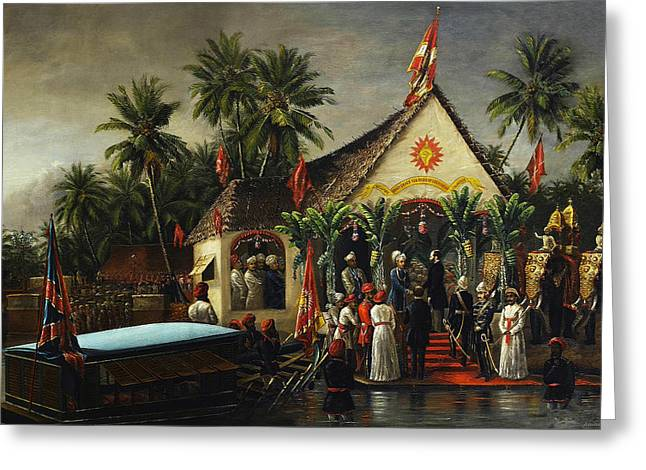 Welcome Greeting Card by Raja Ravi Varma