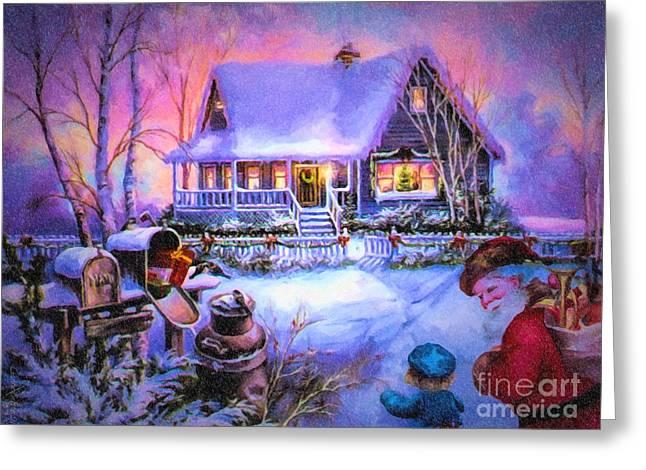 Welcome Santa - Retro Vintage Inspired Christmas Scene Greeting Card by Lianne Schneider