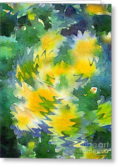 Welcome Spring Abstract Floral Digital Watercolor Painting 3 Greeting Card