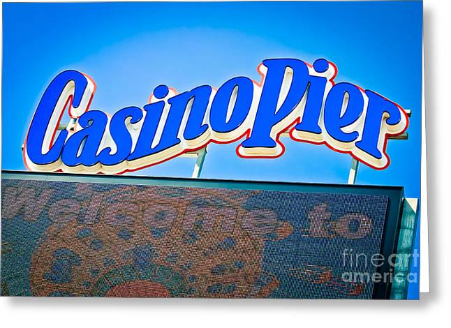 Welcome To Casino Pier Greeting Card by Colleen Kammerer
