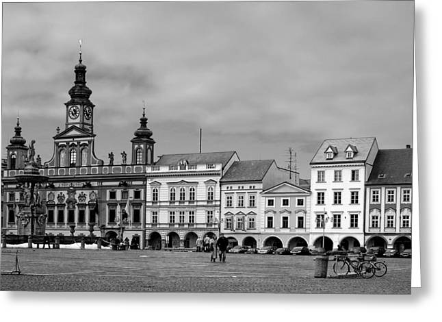 Historic Places Greeting Cards - Welcome to Ceske Budejovice - Budweis Czech Republic Greeting Card by Christine Till