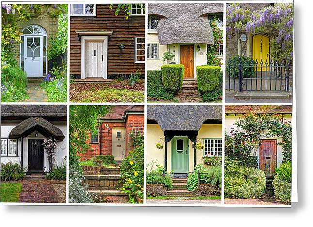 Welcome To England - 8 Cottage Doors Greeting Card by Gill Billington