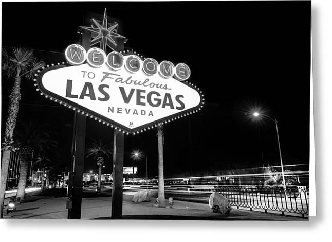 Welcome To Fabulous Las Vegas - Neon Sign In Black And White Greeting Card