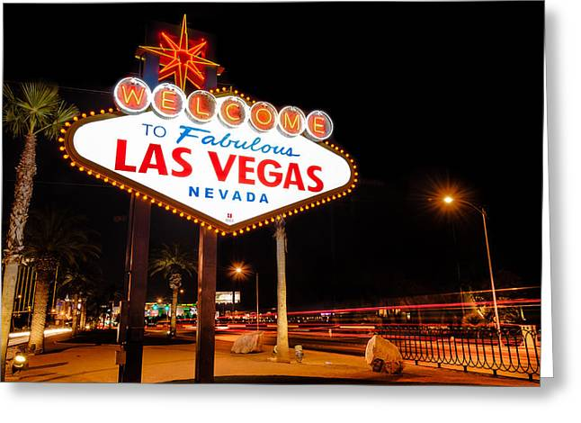 Welcome To Las Vegas - Neon Sign Greeting Card by Gregory Ballos