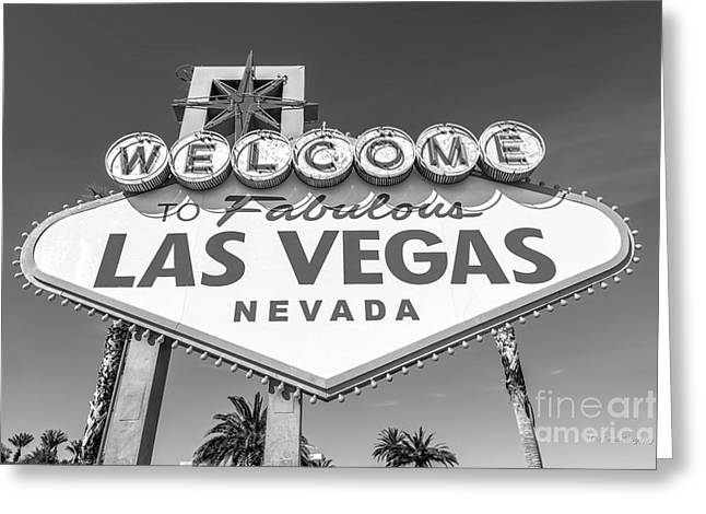 Welcome To Las Vegas Sign Black And White Greeting Card