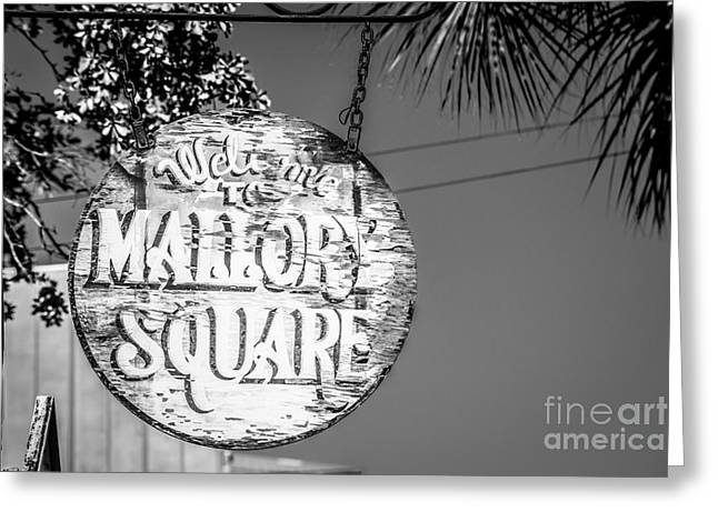 Welcome To Mallory Square Key West 2  - Black And White Greeting Card