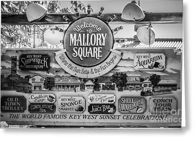 Welcome To Mallory Square Key West - Black And White Greeting Card