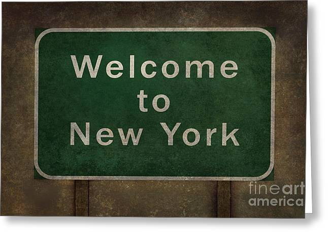 Welcome To New York Highway Road Side Sign Greeting Card