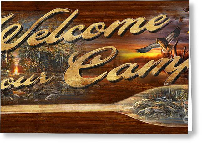 Welcome To Our Camp Sign Greeting Card by Jim Hansel