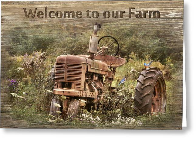 Welcome To Our Farm Greeting Card by Lori Deiter