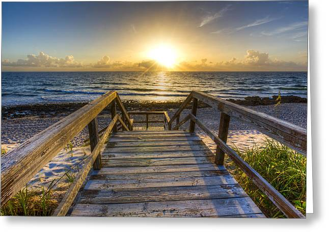 Welcome To The Beach Greeting Card by Debra and Dave Vanderlaan