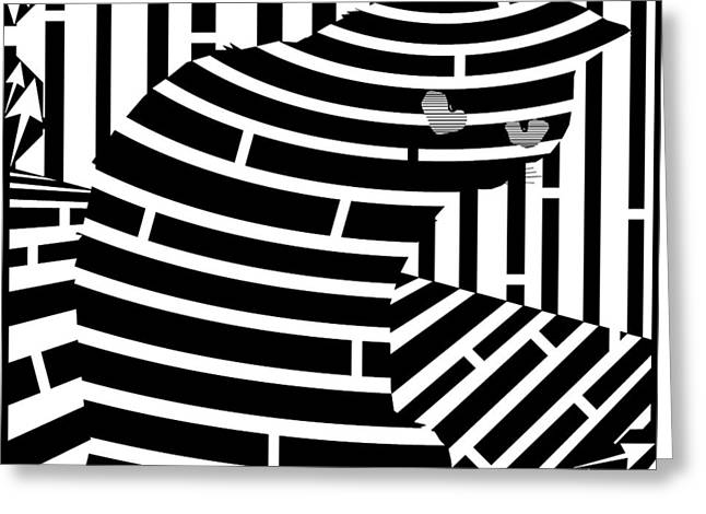 Welcome To The Cat Side Maze Greeting Card by Yonatan Frimer Maze Artist