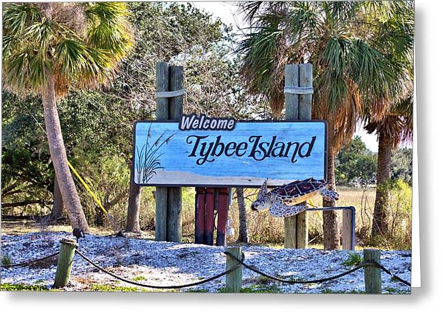 Welcome To Tybee Greeting Card by Gordon Elwell